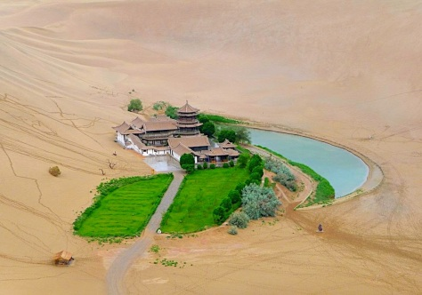 Crescent Lake in Desert